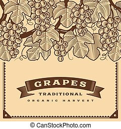 Retro grapes harvest card brown