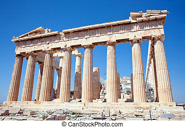 Parthenon on the Acropolis, Athens, Greece - Facade of the...