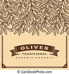 Retro olive harvest card brown