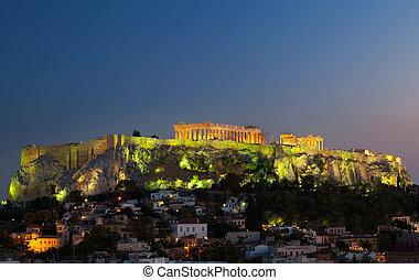 Acropolis - Night view of Acropolis with parthenon temple