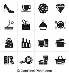 Shopping and mall icons - Black Shopping and mall icons -...