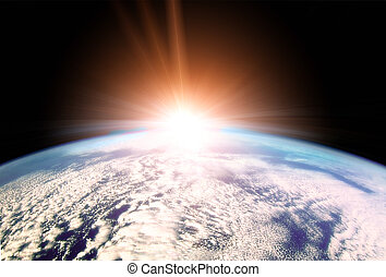 Rising Sun over Earth horizon - Illustration of Rising Sun...