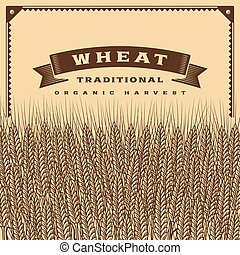 Retro wheat harvest card brown