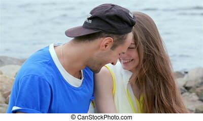Tenderness touch foreheads - Young friends have fun together...