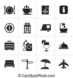 Traveling and vacation icons - Black Traveling and vacation...