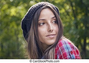 Portrait Of Young Beautiful Woman In Autumn Park - Portrait...