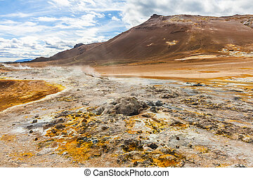 Mudpot in the geothermal area Hverir, Iceland. The area...