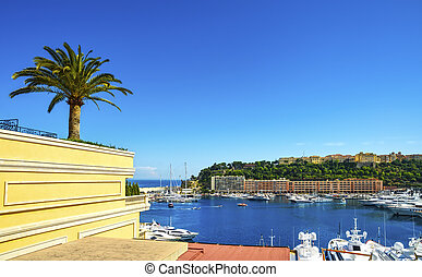 Montecarlo Monaco Ville old town principality and harbor view. Azure coast. France