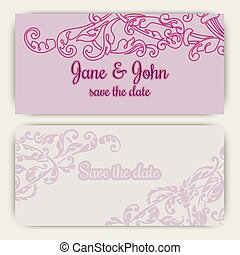Wedding invitation cards in pink color