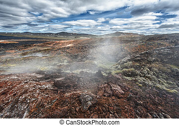 Krafla - Inhospitable dramatic volcanic landscape full of...