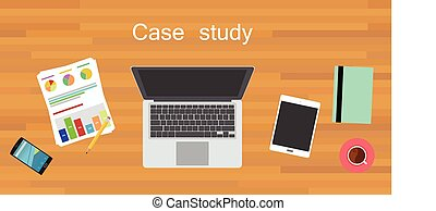case study wood work desk flat vector