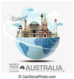 Clip Art Vector Of Infographic Travel And Landmark Australia Map - Australia map infographic