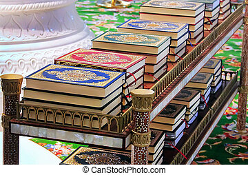 Koran in a mosque on the table, bound, Islamic law