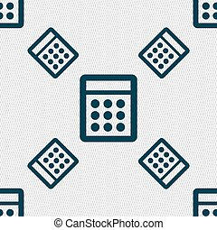 Calculator sign icon Bookkeeping symbol Seamless pattern...