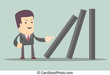 Businessman toppling dominoes. Domino effect. Stock Vector...