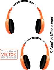 Orange vector headphones