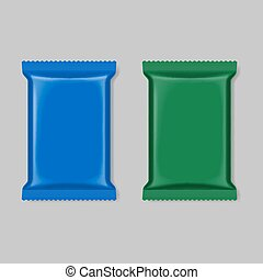Polymer packaging set, blue and green isolated on gray