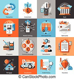 Banking Icons Set - Banking icons set with investment atm...