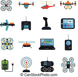 Drones Icons Set - Drones icons set with laptop helicopter...
