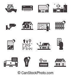 Smart House Black White Icons Set - Smart house black white...