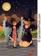 Mother Daughter Wearing Halloween Costumes - A vector...