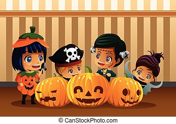 Little Kids Wearing Halloween Costumes - A vector...