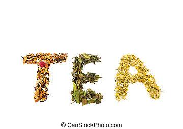 Word tea made of different tea species
