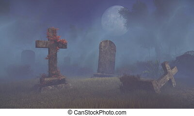 Old creepy cemetery under full moon - Mystical night at...