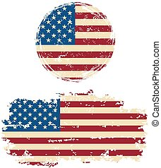 American round and square grunge flags. Grunge effect can be...