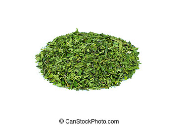 Heap of green hemp tea on white background