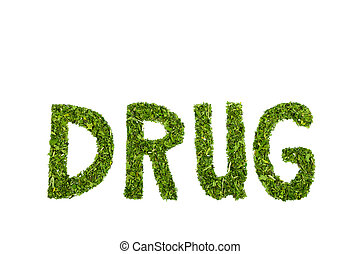 Word DRUG letters made of green hemp leaves