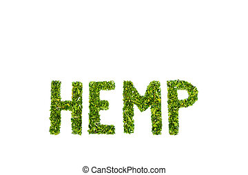 Word HEMP made of cut green hemp leaves