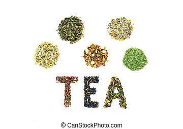 Word TEA with assortment of tea species