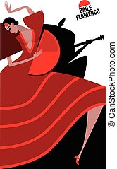 Flamenco - Vector illustration on white background featuring...