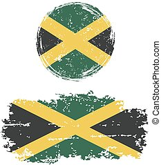 Jamaican round and square grunge flags. Grunge effect can be...