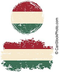 Hungarian round and square grunge flags Grunge effect can be...