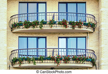 Balconies - Two Balkonies with Flowers