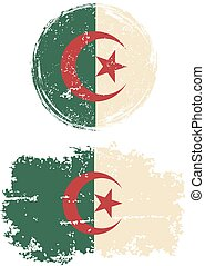Algerian round and square grunge flags. Grunge effect can be...