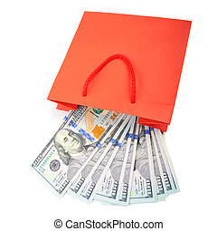 Dollar bills folded in a red paper bag