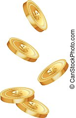 Five gold dropping coins isolated on white background Vector...