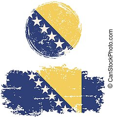 Bosnia and Herzegovina round, square grunge flags Vector...