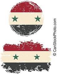 Syrian round and square grunge flags. Vector illustration....