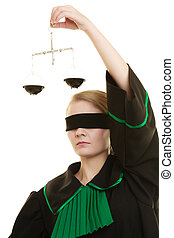 woman barrister holding scales - Law court concept Woman...