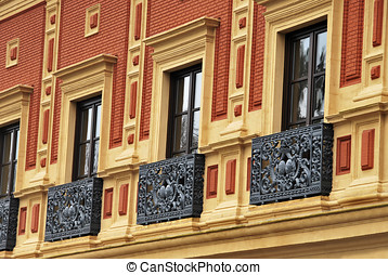 Antique balcony in San Telmos Palace Sevilla Spain