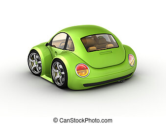 Tiny green car - 3d isolated on white background...
