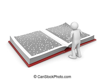 Man in library - 3d isolated on white background characters...