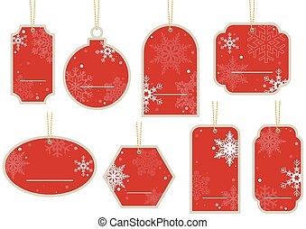 Christmas Price Tag - Hanging Red Label Set, Illustration...