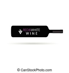 red and white wine horizontal vector silhouette