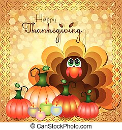 Postcard for Thanksgiving in scrapbooking style