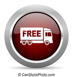 free delivery red glossy web icon
